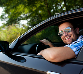Happy driver with auto insurance in Weston, FL